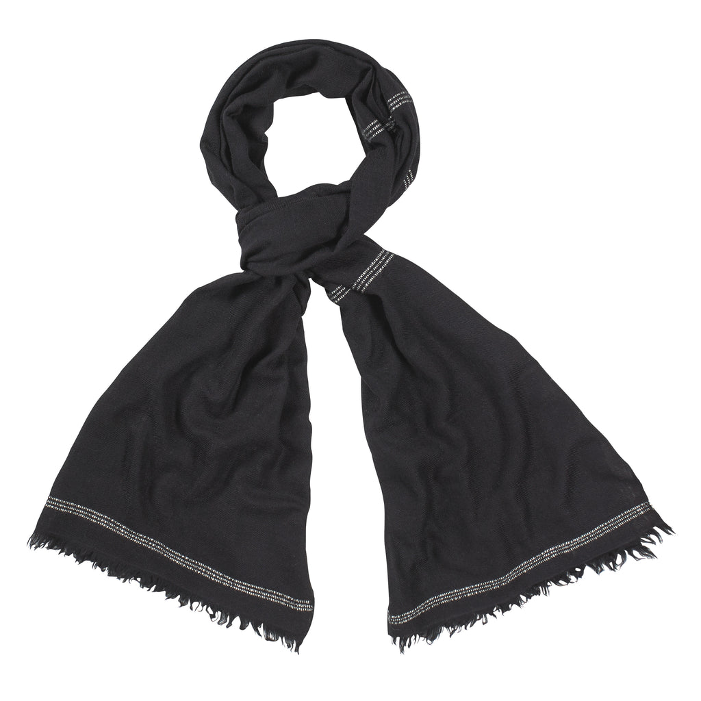 Black and White Handloomed 100% Pashmina