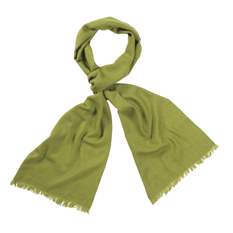 Olive Handloomed 100% Fine Wool Scarf