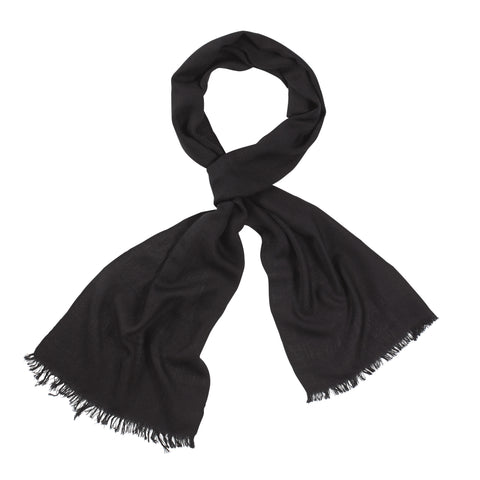 Black Handloomed 100% Fine Wool Scarf