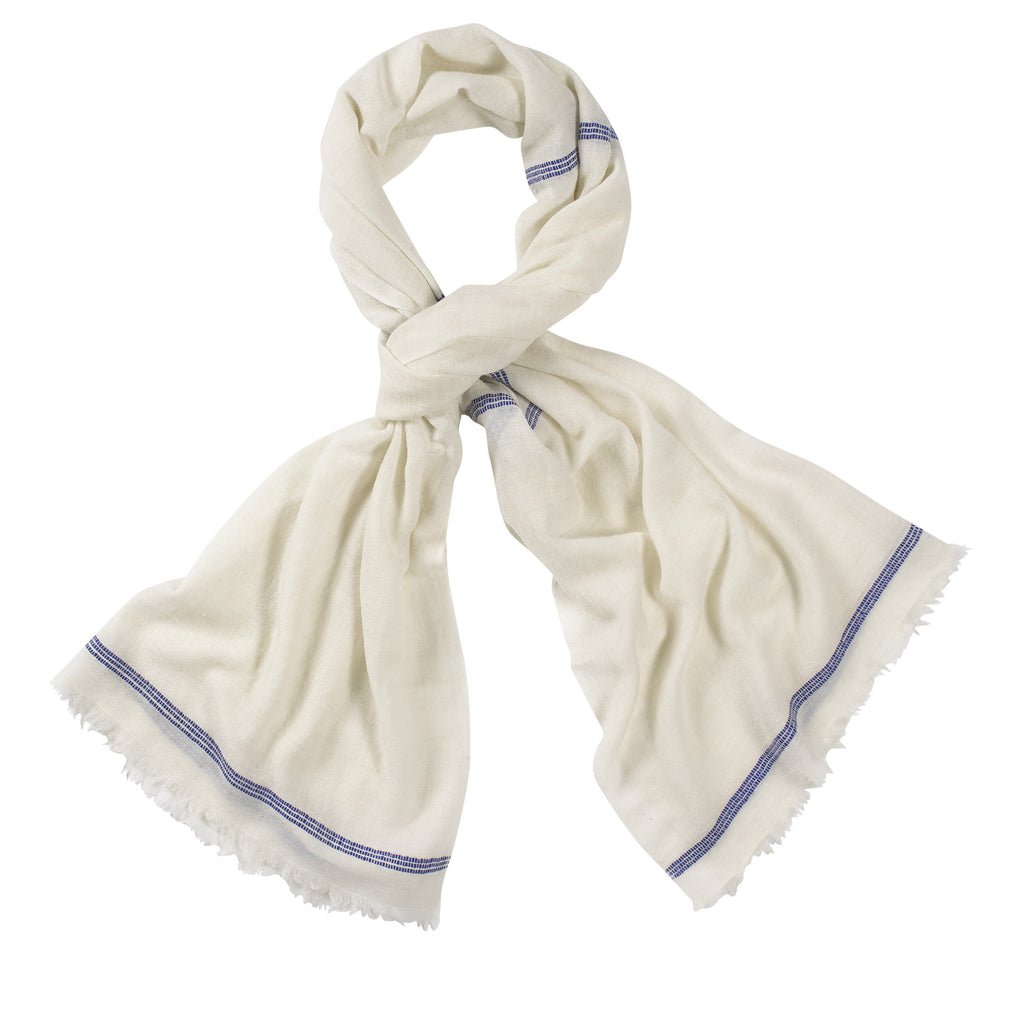 White and Blue Handloomed 100% Pashmina