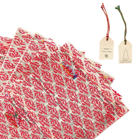 Red Up-Cycled Wrapping Paper + Gift Tag Set