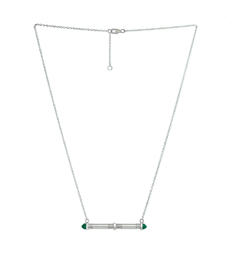 Bolt Bar Necklace - Malachite