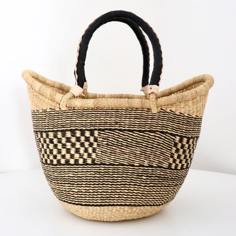 Large U Shopper - Natural & Navy