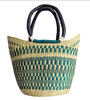 Large U Shopper - Natural & Sea Green