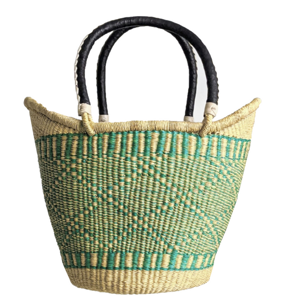Large U Shopper - Natural & Turquoise