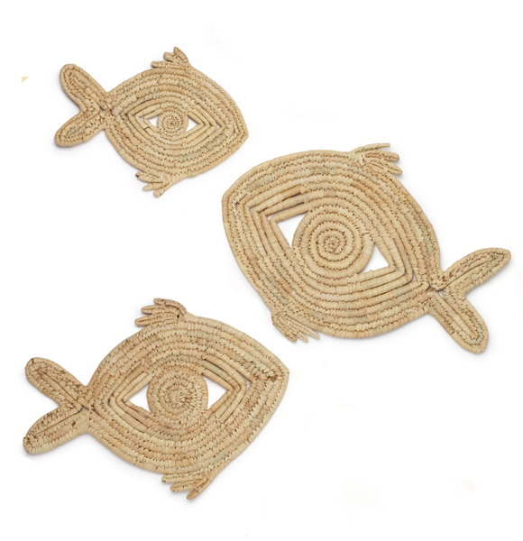 Palm Leaf Trivets - Fish (Set of 3)