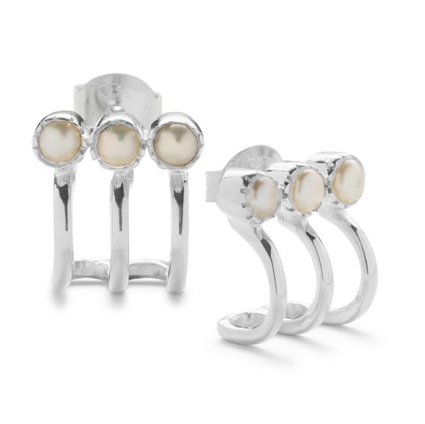 Vimla Pearl Earrings - Silver
