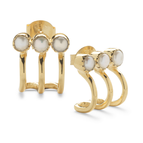 Vimla Pearl Earrings - Gold