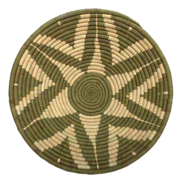 Ugandan Large Basket Bowl 'Green Flowers'