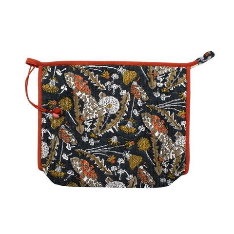 Indian Block printed Large Pouch 'Garden Tiger Moth'