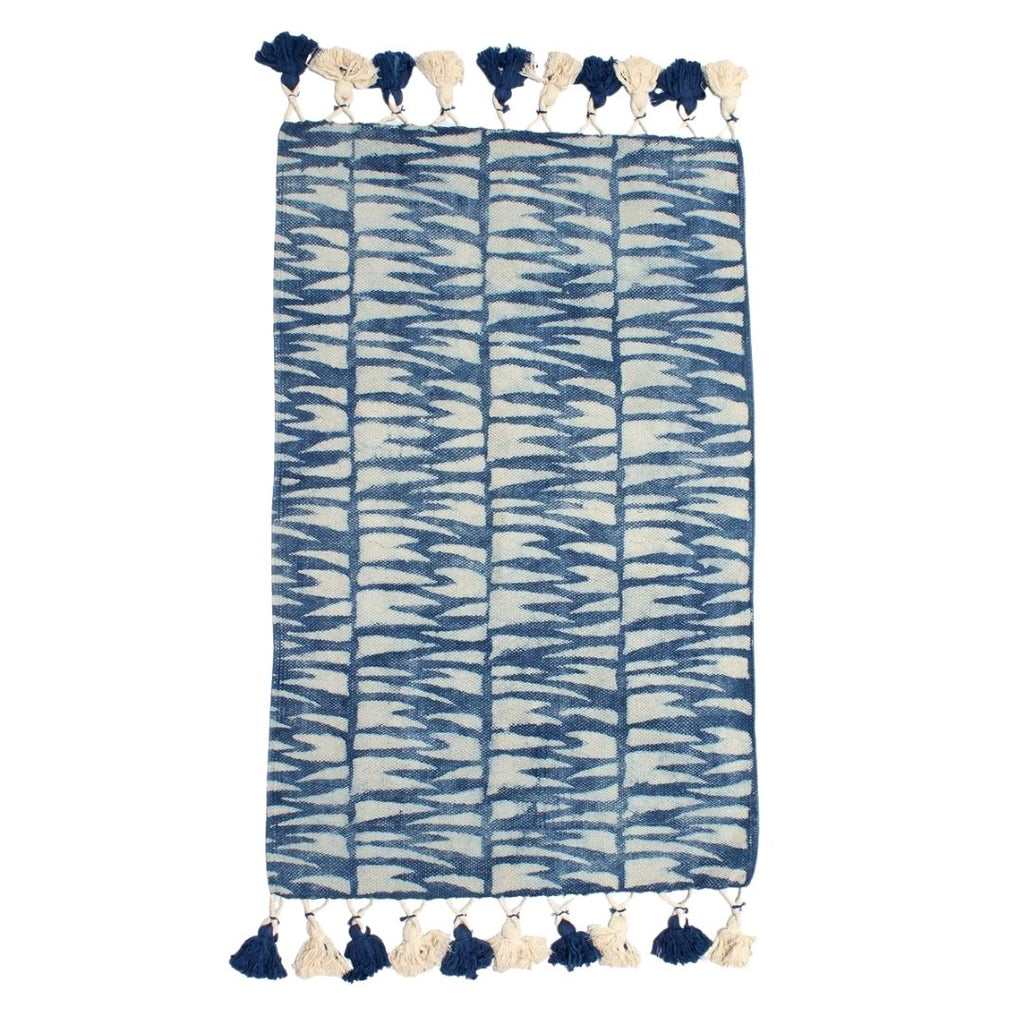 Indian Indigo Block Printed Tiger Stripes Rug '4 x 6ft'