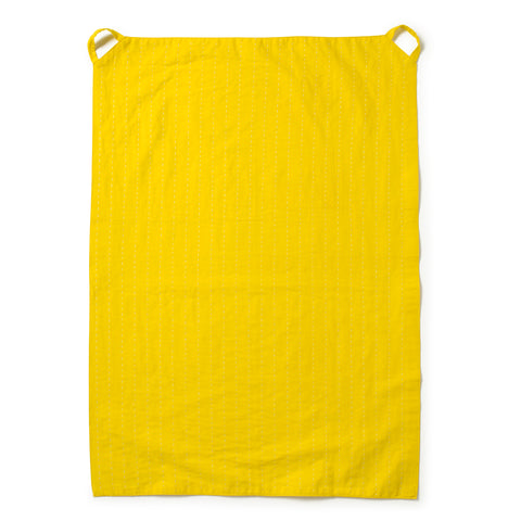 Yellow Dotted Line Tea Towel