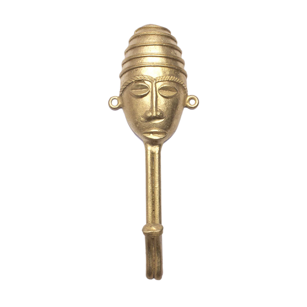 Ghanaian Ashanti Brass Hook 'Striped Mask'