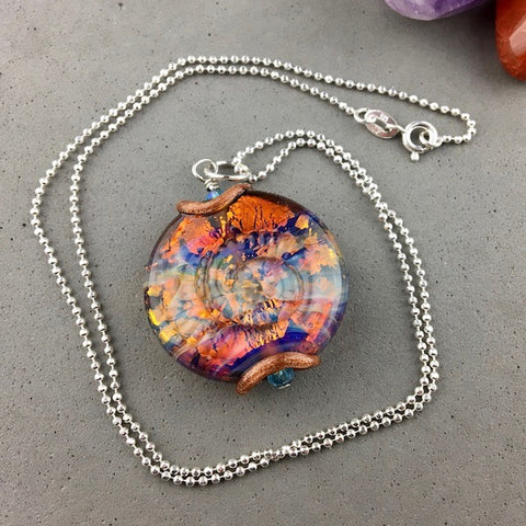 "AMMONITE ~ LARGE HANDMADE GLASS BEAD ON A 2O"" STERLING SILVER BALL CHAIN"