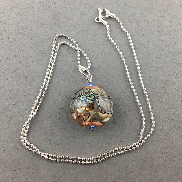 "ATLAS ~ HANDMADE GLASS PENDANT ON AN 18"" STERLING SILVER BALL CHAIN"