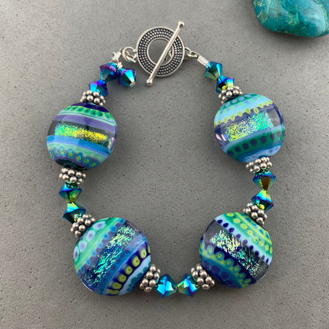 PAPILLON WRAP ~ STERLING SILVER BRACELET WITH HANDMADE GLASS BEAD