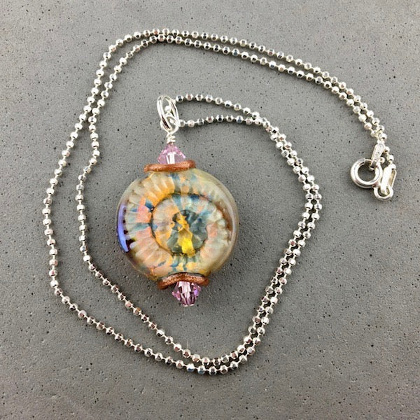 "AMMONITE II ~ HANDMADE GLASS PENDANT ON AN 18"" STERLING SILVER CHAIN"