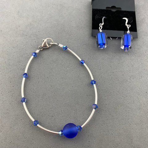 NAVY FROST ~ STERLING SILVER WRAP WITH HANDMADE GLASS BEAD