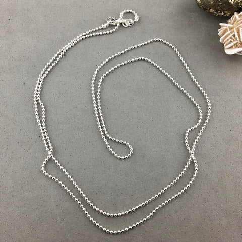 CHAIN ~ 30 INCH SILVER PLATED BALL CHAIN