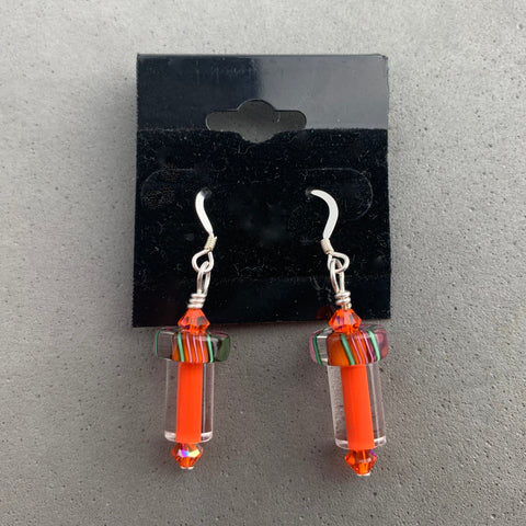 ORANGE FURNACE GLASS EARRINGS