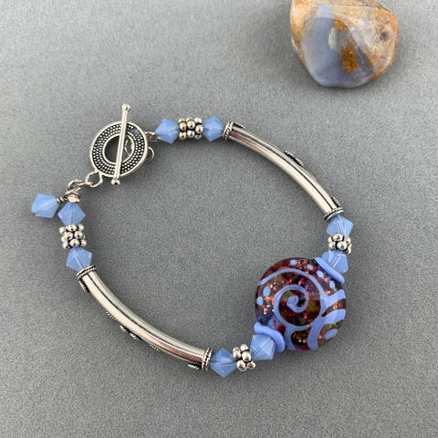 MOON GLOW WRAP ~ STERLING SILVER BRACELET WITH HANDMADE GLASS BEAD