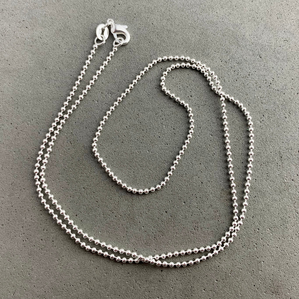 CHAIN ~ 20 INCH STERLING SILVER BALL CHAIN