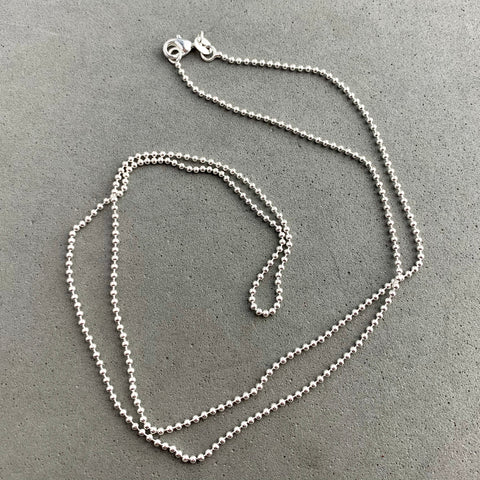 CHAIN ~ 24 INCH STERLING SILVER BALL CHAIN