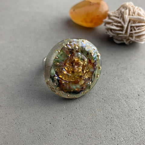SEA GOLD RING TOPPER