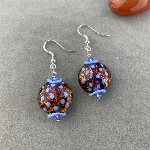 MAP OF THE WORLD II ~ HANDMADE GLASS BEAD EARRINGS