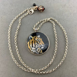 BONNIE ~ HAND PAINTED MINIATURE ART PENDANT ON A 26 INCH SILVER CHAIN