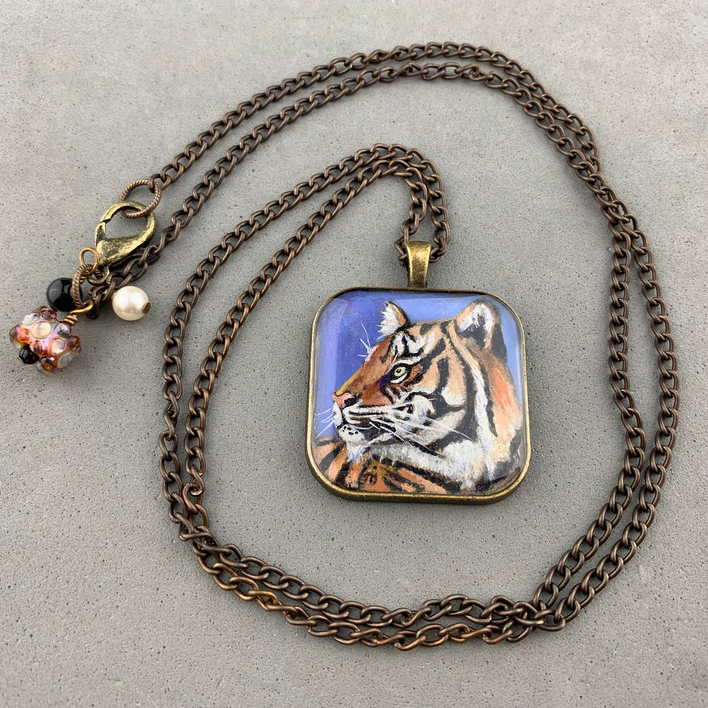 CLYDE ~ HAND PAINTED MINIATURE ART PENDANT  ON A 28 INCH ANTIQUE BRONZE CHAIN