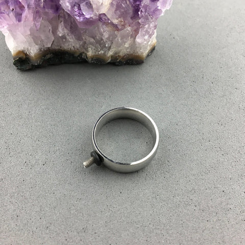 INTERCHANGEABLE RING BASE ~ SHINY STEEL, SIZE 7 (17 MM)