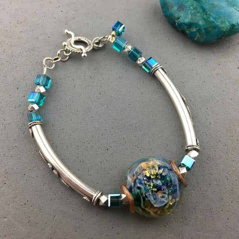 ATLANTIS ~ STERLING SILVER WRAP WITH HANDMADE GLASS BEAD