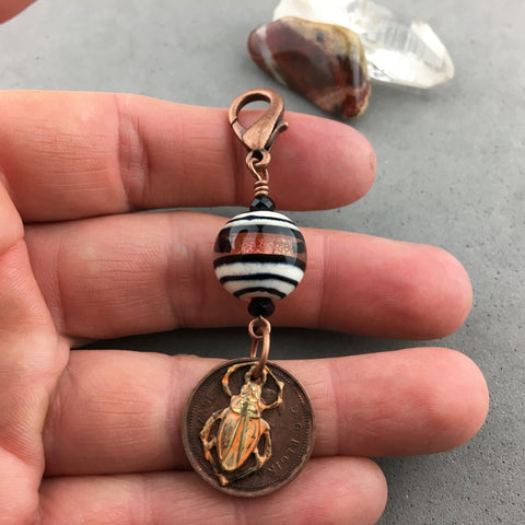 LUCKY PENNY CHARM WITH HANDMADE GLASS BEADS AND PAINTED SCARAB CHARM