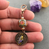 LUCKY PENNY CHARM WITH HANDMADE GLASS BEADS AND PAINTED SCARAB CHARM II