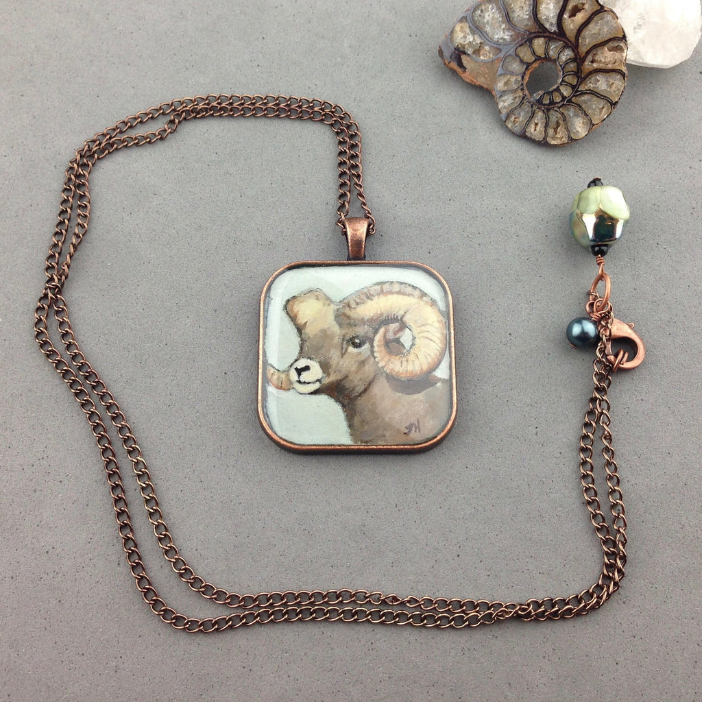ROCKY ~ HAND PAINTED MINIATURE ART PENDANT WITH ANTIQUE COPPER CHAIN