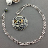 BUBO TALON ~ HAND PAINTED MINIATURE ART PENDANT WITH SILVER CHAIN