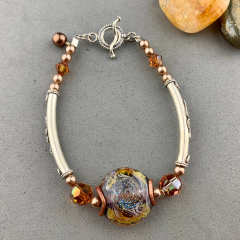 COSMOS WRAP ~ STERLING SILVER BRACELET WITH HANDMADE GLASS BEAD