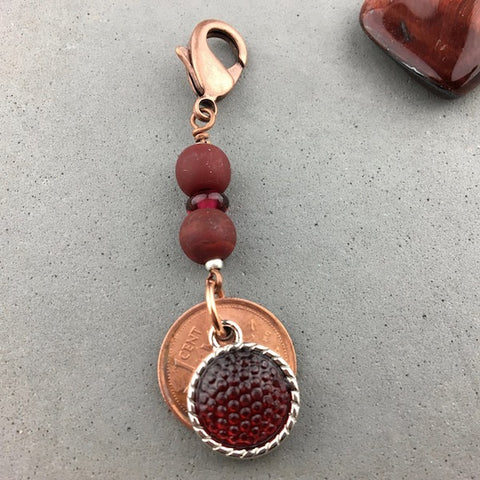 LUCKY PENNY CHARM WITH HANDMADE GLASS BEADS AND RUBY CHARM