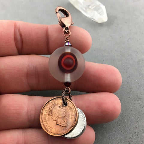 LUCKY PENNY CHARM WITH HANDMADE GLASS BEADS AND RUBY CHARM II