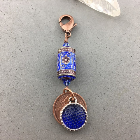 LUCKY PENNY CHARM WITH A SCROLL BEAD AND COBALT CHARM