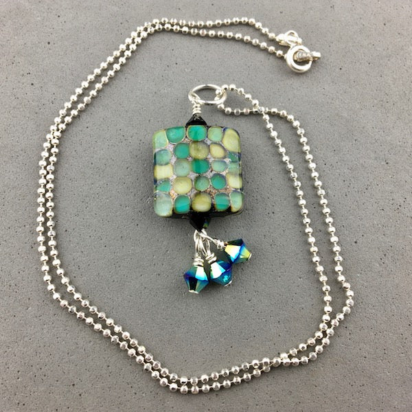 "MOSAIC ~ HANDMADE GLASS PENDANT ON AN 18"" STERLING SILVER BALL CHAIN"