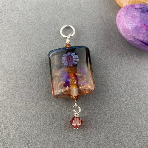 "SHE SELLS SEASHELLS ~ LARGE HANDMADE GLASS BEAD ON A 2O"" STERLING SILVER BALL CHAIN"