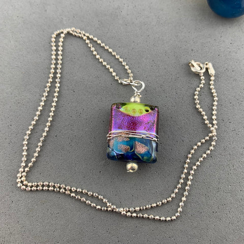 "MARDI GRAS II ~ HANDMADE GLASS PENDANT ON A 20"" STERLING SILVER BALL CHAIN"