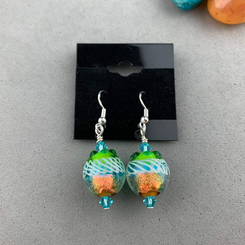 FIESTA V ~ HANDMADE GLASS BEAD EARRINGS