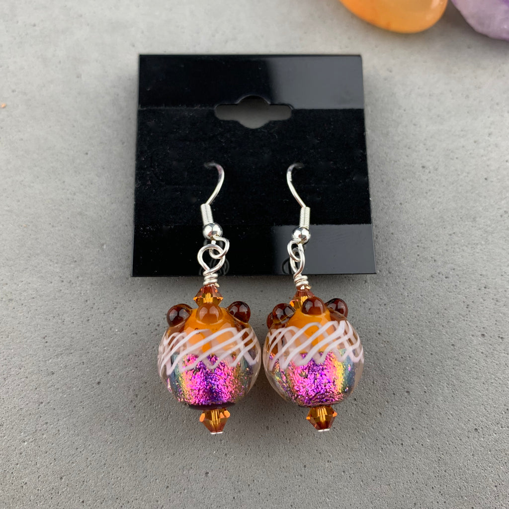 FIESTA VII ~ HANDMADE GLASS BEAD EARRINGS