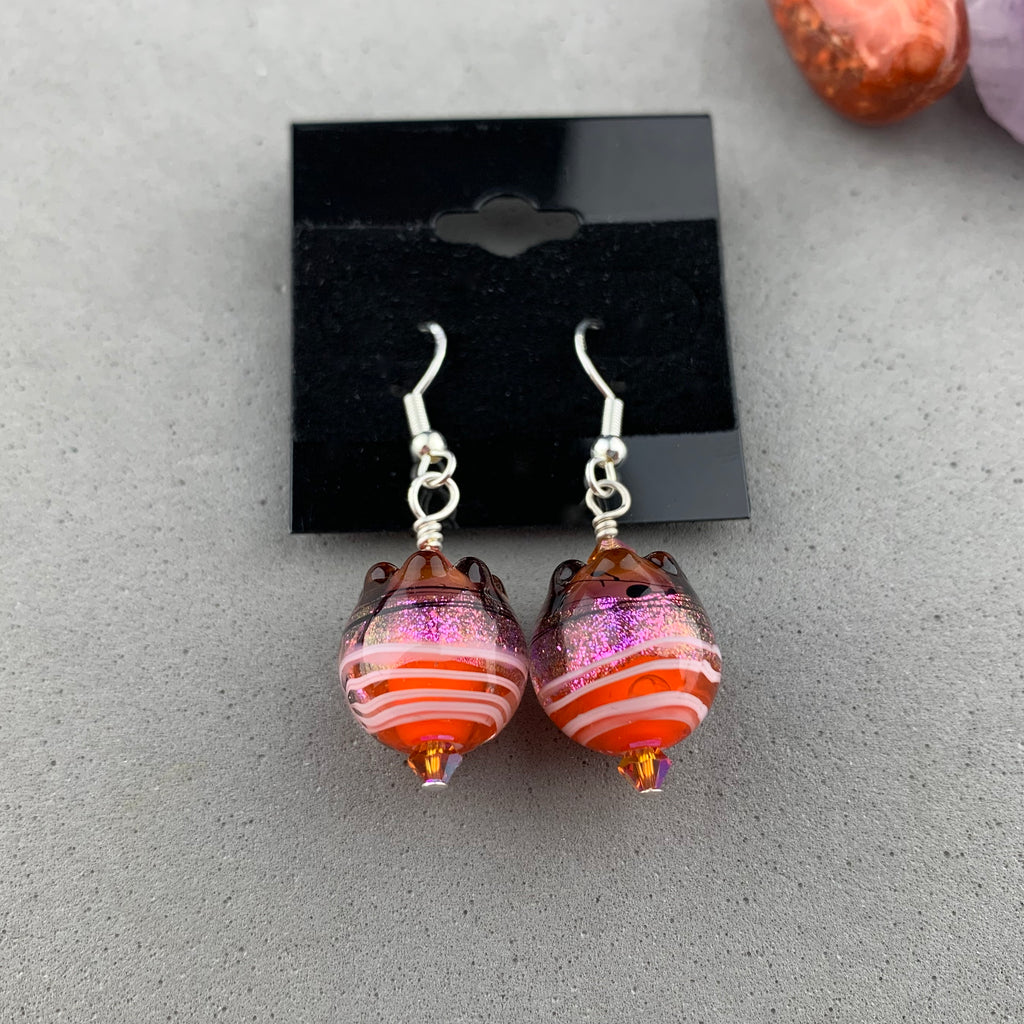 FIESTA IX ~ HANDMADE GLASS BEAD EARRINGS
