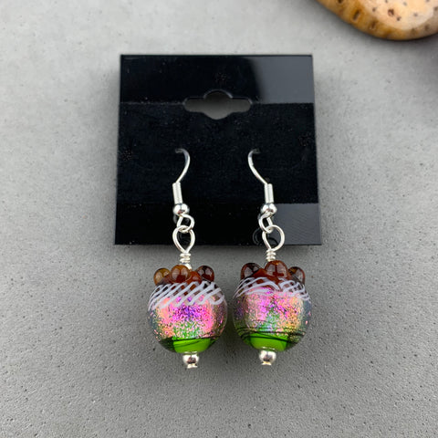 FIESTA X ~ HANDMADE GLASS BEAD EARRINGS