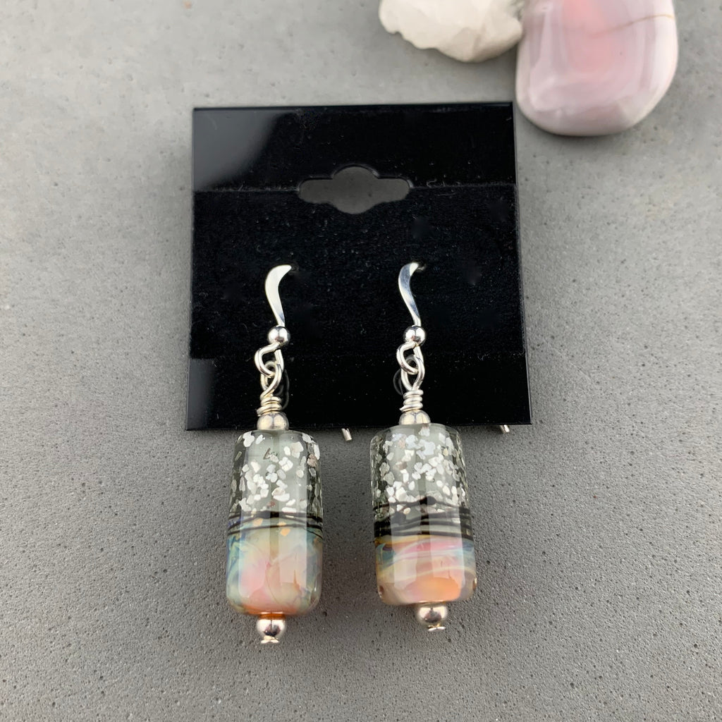 FIRE AND ICE II ~ HANDMADE GLASS BEAD EARRINGS