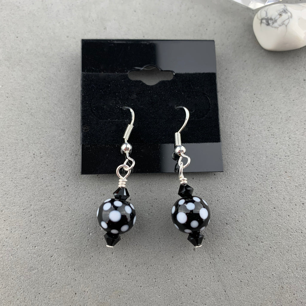 THE CROWS HAVE EYES II ~ HANDMADE GLASS BEAD EARRINGS